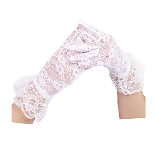 Women's Vintage Sheer Floral Lace Bridal Wedding Derby Tea Party Gloves Victorian Gothic Costumes Gloves(White), OS (White Glove Vintage)