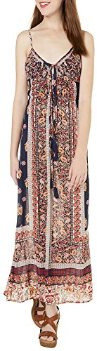 Angie-Juniors-Floral-Paisley-Tasseled-Maxi-Dress
