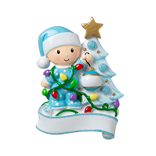 Personalized Baby Decorating a Tree Light Blue Christmas Ornament 2019 - Boy Santa Hat Garnish Glitter Bauble Tangle God New Mom Shower Holiday Grand-Son Tradition Nursery - Free Customization