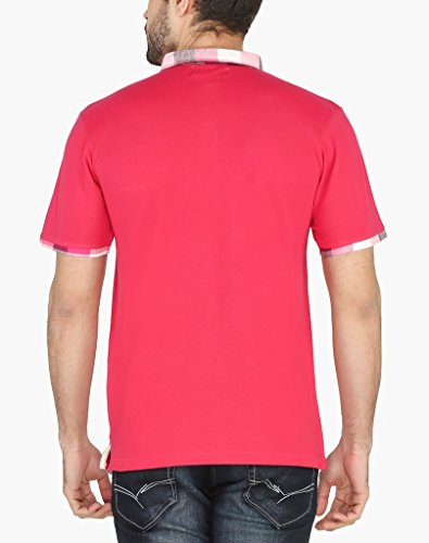 nick&jess Herren Poloshirt, Einfarbig Rosa Pink