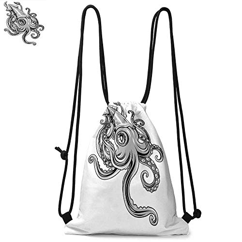 (Kraken Decor Durable Drawstring Backpack Squid Fish with Fins Sea Spiritual Animal Cuttlefish Underwater Alien Artisan PrintSuitable for carrying around W13.4 x L8.3 Inch Grey)