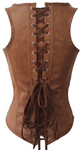 Alivila.Y Fashion Womens Faux Leather Underbust Steel Boned Corset Waist Cincher 4