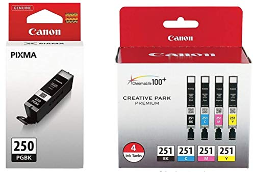 Genuine Canon PGI-250 (6497B001) CLI-251 (6513B004) Color (Black, Cyan,Magenta,Yellow) Ink Tank 5-Pack