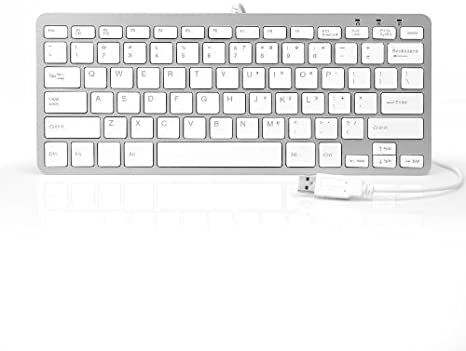 White YRD TECH 78 Keys Wired Keyboard Ultra-Thin USB 2.0 Mini Multimedia Keyboard for Laptop and PC