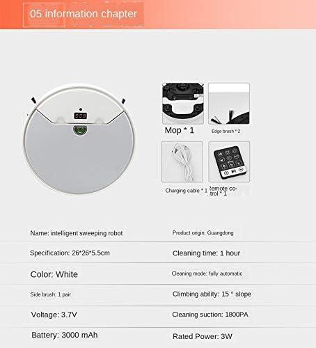 Mdsfe Robot aspirateur Robot de Balayage télécommande télécommande vadrouille aspirante Type de Plan Sec et Humide Rendez-Vous prévu - Blanc