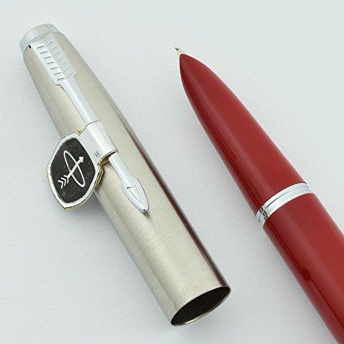 Parker Super 21 Fountain Pen - Red Barrel, Fine Steel Nib (1960s New Old Stock, Perfect, Guaranteed)