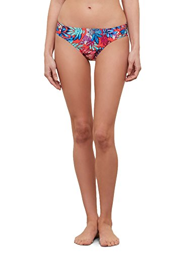 Kenneth Cole New York Women's Side Shirred Hipster Bikini Swimsuit Bottom, Cherry // Tropical Tendencies, X-Large