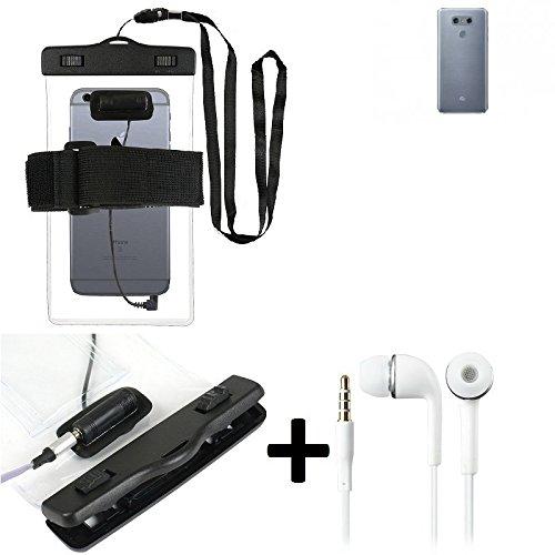 Estuche estanco al agua con entrada de auriculares para LG Electronics G6 + auricular incluido, transparente | Trotar bolsa de playa al aire libre caja brazalete del teléfono caso de cáscara bajo play
