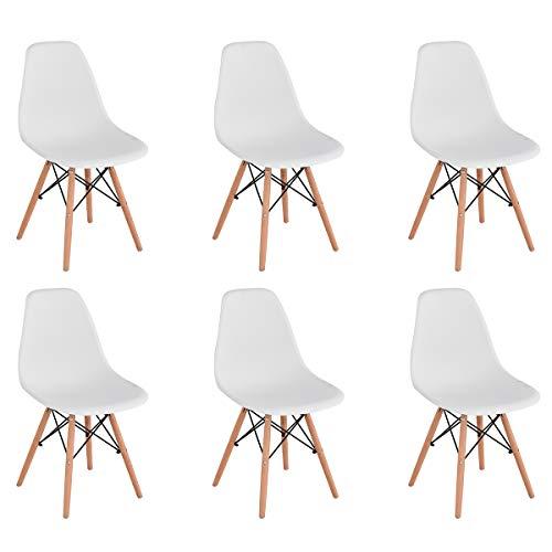 KunstDesign Set de 6 Sillas de Comedor, Diseno Ergonomico,Patas de Madera de Haya Natural (Blanco)