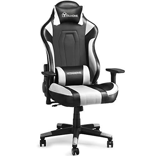 YITAHOME Silla para juegos de masaje, grande y alta, resistente, 350 libras, ergonómica, para videojuegos, silla de oficina con respaldo alto, estilo de carrera, con reposacabezas y soporte lumbar, color blanco
