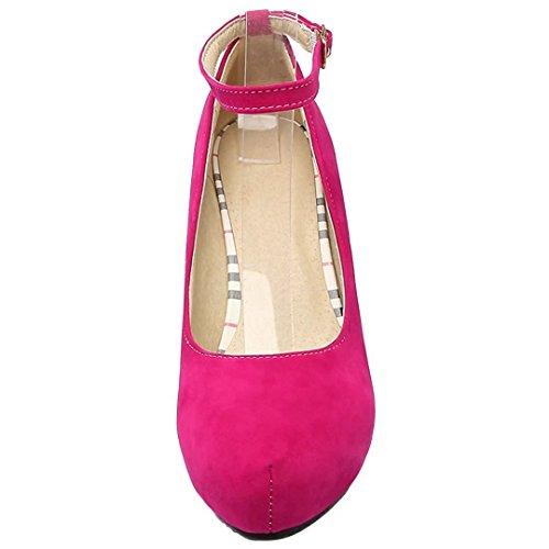YE Damen Ankle Strap Pumps Blockabsatz High Heels Plateau mit Riemchen und 8cm Absatz Elegant Schuhe Rose
