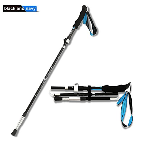 Trekking Poles , Collapsible Trekking Pole , Ultralight Z-Fold Trekking Poles with Anti Shock Bottom , Natural Grips, Quick Lock and Tungten Tips for Mountain Runner , Hiking, Walking, Backpacking (Shock Bottom)