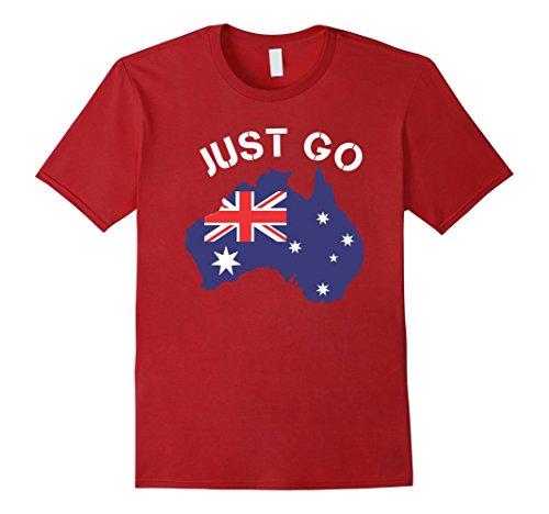 Men's Just Go Australia - Funny Australia Shirt 3XL Cranberry (Go Go Boots Australia)