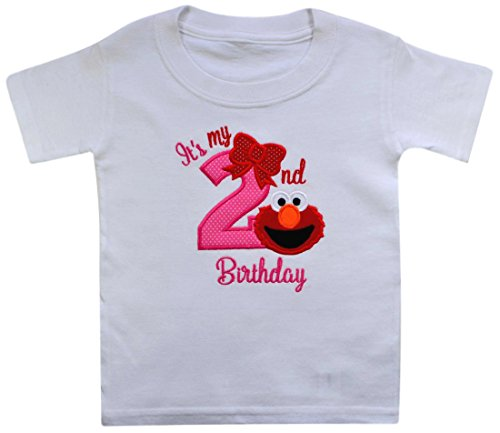 Elmo It's My 2nd Birthday Embroidered T-Shirt for Toddler Girls Turning 2 (4T, Pink & Red)