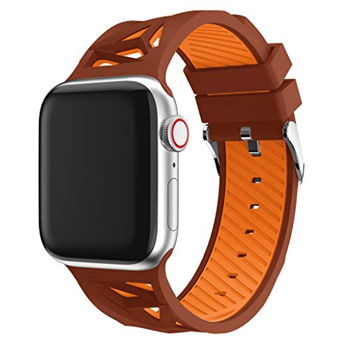 Haluoo Compatible with Apple Watch Band 42mm 44mm, Soft Silicone Sport Replacement Bands Lightweight Breathable Wristband Strap for iWatch Apple Watch Series 4/3/2/1 42/44mm Men Women (Brown)