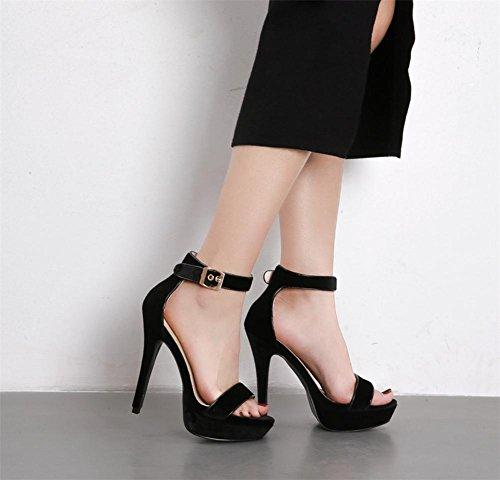 Nero sandali 5 piede Dito Lavoro Tacco Donna Vestito alto Fibbia Sbirciare Caviglia Stiletto Scarpe 5 Sexy Festa 38 EUR Discoteca UK del Cinghia Op4xxqw51z