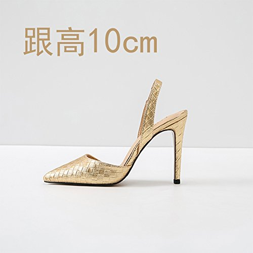 Vivioo Høje Hæle Sandaler Hæle Høj Hæl Sommer Baotou Sandaler Højhælede Lille Størrelse Gyldne 10cm k3sEyI4qn