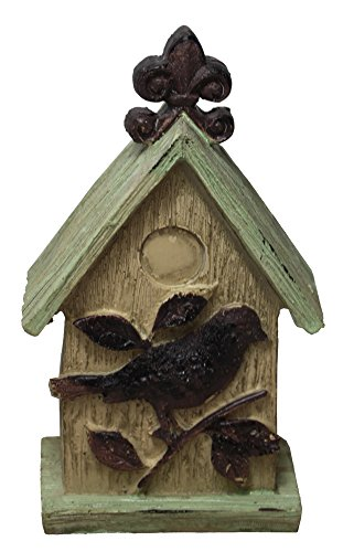 Phoenix Fleur De Lis - RUSTIC LOOKING BIRD HOUSE FIGURINE WITH FLEUR DE LIS ON THE TOP