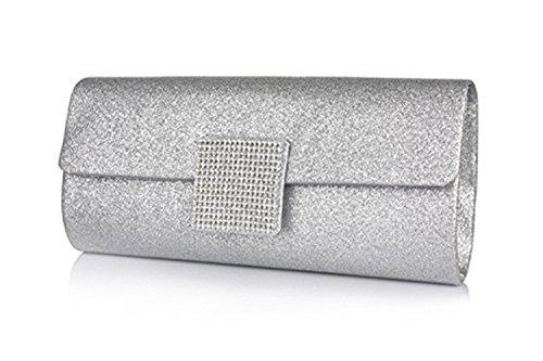 peyviva Frauen Fashion Luxus Strass Abendtasche Geldbörse, gold (Gold) - UK-WYB061-Gold silber