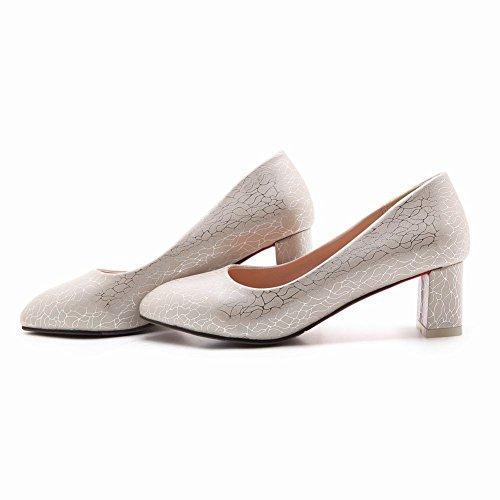 Mee Shoes Damen chunky heels spitz Geschlossen Pumps Beige