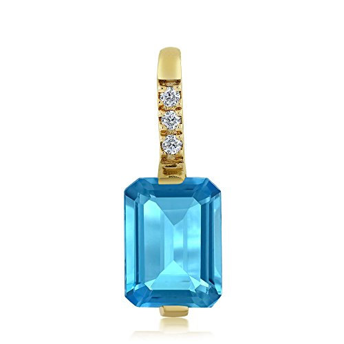 Swiss Cut Yellow Pendant (18K Yellow Gold Emerald Cut Swiss Blue Topaz and Diamond Pendant Necklace (1.90 cttw))