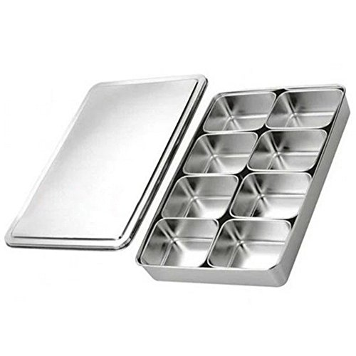 8 Lattice Nonmagnetic Japanese Type Square Seasoning Box Stainless Steel by Generic
