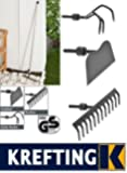 Gartenharke (Gartenhacke) 120 cm lang - Gartenrechen 3in1-Gartenwerkzeug-Set (Rechen, Harke (Hacke), Grubber)