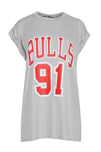 Mujer TOROS 91 Estampado Universidad Deportivo Beisbol Fútbol Baloncesto Cuello Redondo Con Vuelta Manga Japonesa Camiseta