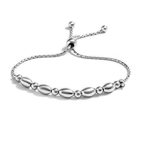 Sterling Silver Plain Adjustable Bracelet