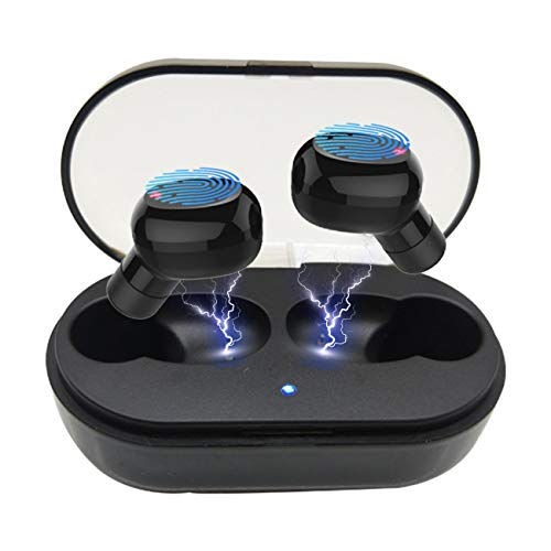 True Wireless Earbuds, BT Headphones V5.0 Hi-Fi Sound and Noise Cancelling Headsets Charging Case Included , IPX7 Waterproof Wireless Earbuds w Mic Suitable for Samsung iPhone Android Phone