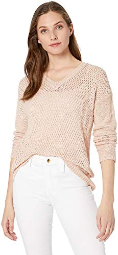 Calvin Klein Women's V-Neck Open Stitch Sweater, Blush, Medium