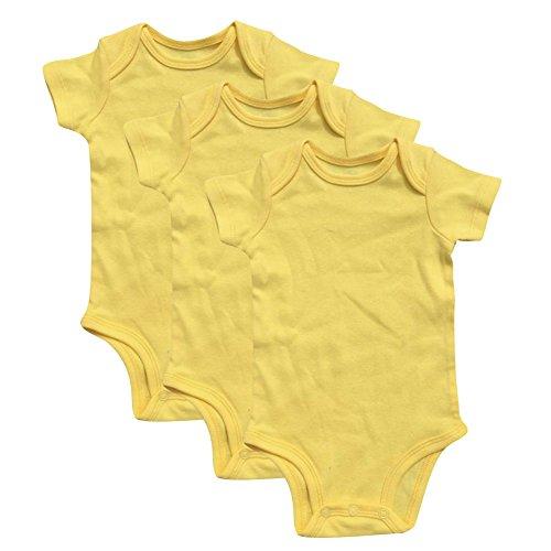 GLEAMING GRAIN 3-Pack Soft Cotton Newborn Boys Bodysuit Short Sleeved Colored Baby Onesie (6M, Yellow)