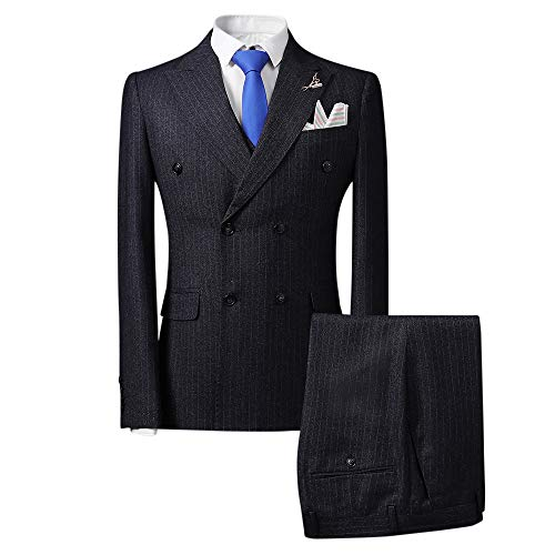 Mens Plaid 3 Piece Suits Double Breasted Retro Slim Dress Dark Grey