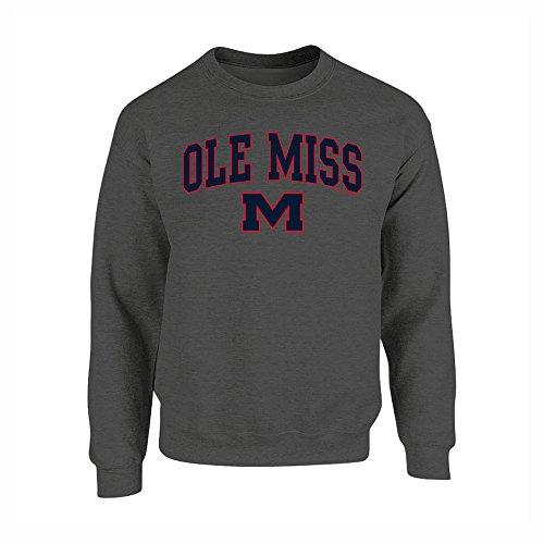 Mississippi Ole Miss Crewneck Sweatshirt Charcoal - (Rebels Ribbed Sweatshirt)