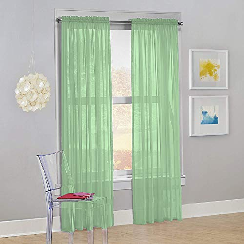"Decotex Set of 2 Sheer Voile Transparent Window Panel Curtain Drapes (54"" W X 84"" L, Sage)"