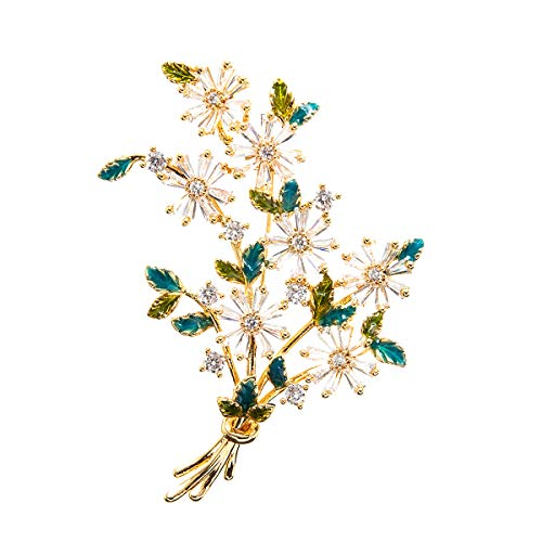 SEPBRIDALS Cubic Zirconia Enamel Wheat Flower Brooch Pin Broach Pendant for Women A01919 (Green)