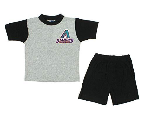 Mighty Mac Arizona Diamondbacks MLB Little Boys Toddler Retro Shirt and Shorts Set, Black-Grey ()