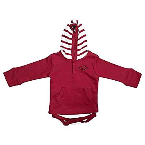 Two Feet Ahead Arkansas Razorbacks Newborn Infant Striped Hooded Creeper Sweatshirt Jacket (6 Months)