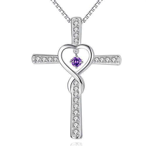 February Amethyst Birthstone Infinity Endless Love God Cross Pendant Necklace, Birthday Necklace, Jewelry Gifts for Women Girls Sister Wife Girlfriend Mom Mother Grandma Daughter Friendship - February Birthstone Cross