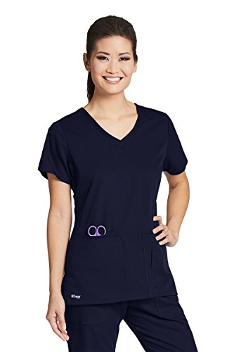 Barco Grey's Anatomy Active 41423 Women's V-Neck Scrub Top (True Navy, Small) - Pocket Crossover Scrub Top