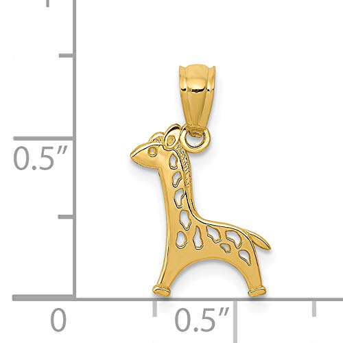 14k Gold Polished Cut-out Giraffe Pendant