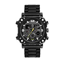 Mens Military Watches Fashion Casual Army Sports Watch Dual Display Waterproof Black Stainless Steel Watches LPB49GBBB