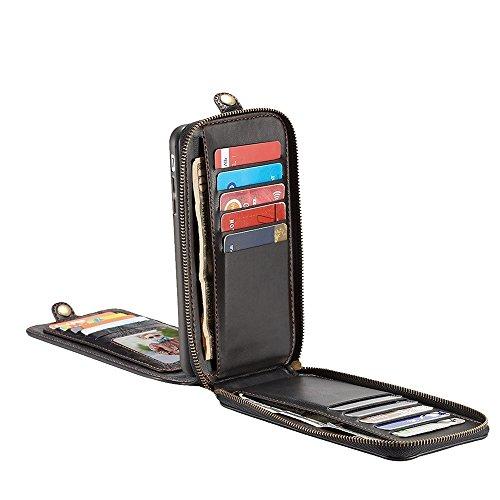 GHC Cases & Covers, Für iPhone 7 Plus PU Verrückte Pferd Textur Magnetische Flip Abnehmbare Rückenlehne Ledertasche mit Haken & Card Slots & Wallet & Lanyard & Foto Frame