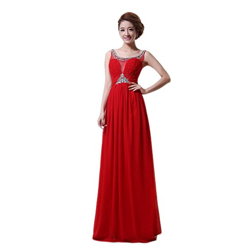 VogueZone009 Womens Sleeveless Chiffon Formal Dresses with Charms and Ruched, Red, 16 by VogueZone009