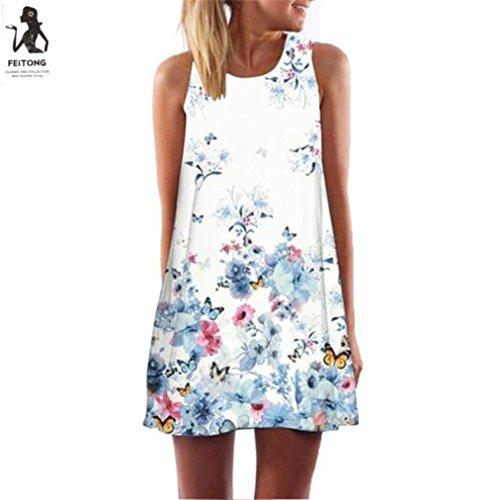 Hot Sale ! Fashion Vintage Boho Women Summer Dress, Ninasill Exclusive Sleeveless Beach Printed Short Mini Dress (XL, White) - Exclusive Sleeveless Dress