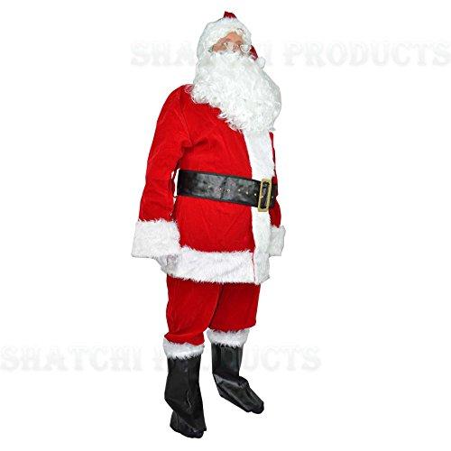 Extra Large Deluxe Plus 8pcs Velvet Santa Suit Father Christmas Fancy Dress - Velvet Santa Deluxe