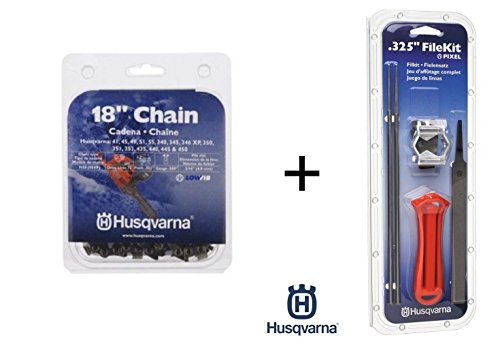 Husqvarna 531300439 18-Inch Pixel Saw Chain Bundle (Chain + File Kit)