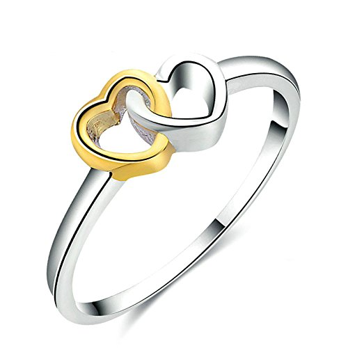 Aooaz Rings Silver Silver Double Heart Womens Silver Rings Size 7 Novelty Jewelry - Crystal Outlets Waterford