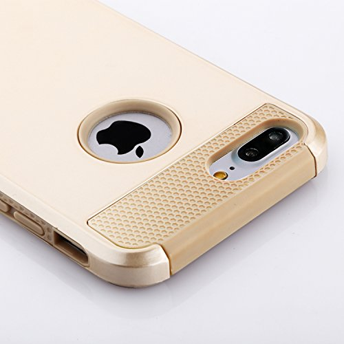 iPhone 7 Plus Gold Case, technext020 Tough Gel Armor Cover Protective Bumper Hybrid Hard Plastic and Soft Silicone Case for Apple iPhone 7 Plus Gold