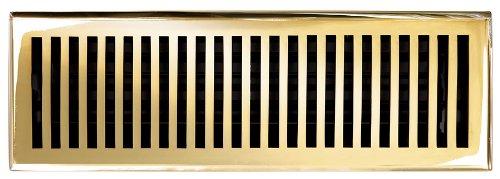 Brass Elegans 116F PLB Solid Cast Brass Contemporary 4-Inch by 14-Inch Floor Register, Polished Brass Finish Model